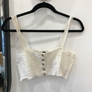 Urban Outfitter lace button up crop top